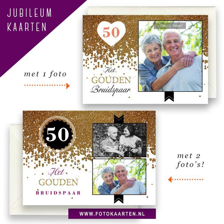 Jubileumkaarten kun je zo snel en makkelijk maken bij Fotokaarten met de talloze voorbeelden die er zijn. We laten hier 2 varianten zien met een gouden sprankelende achtergrond. Je kunt er 1 grote foto opzetten of een oude en nieuwe foto plaatsen. www.fotokaarten.nl