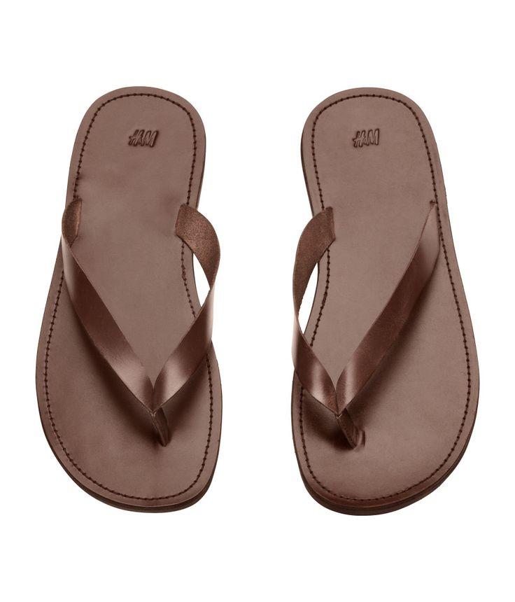 Leather flip flops | H&M For Men