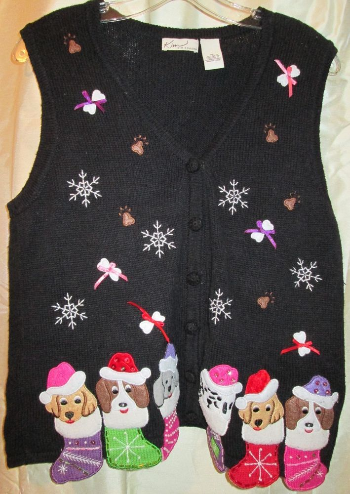 Christmas Sweater Vest Kim Rogers XL Black With Puppies in Stockings Beads   #KimRogers