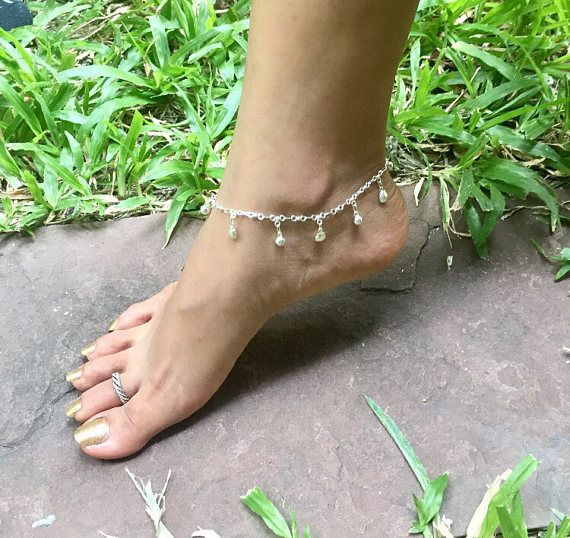 Anklet Silver Anklet Shell Charms Minimalist Silver Anklet