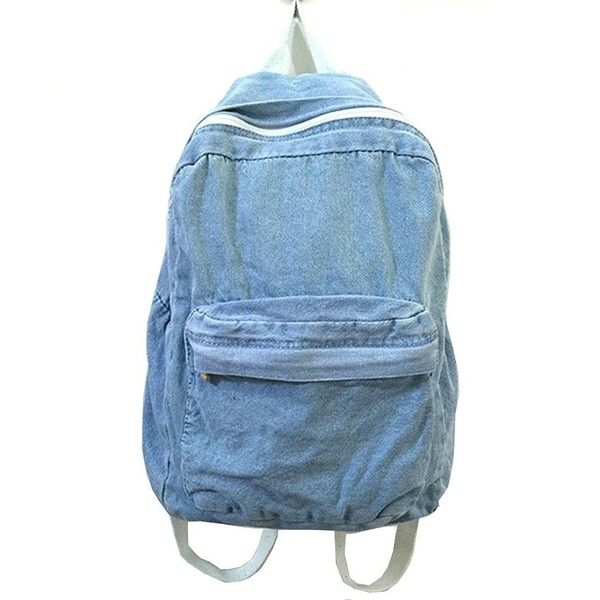 Classic Vintage Denim Bookbags School Bag College Jeans Backpack (£20) ❤ liked on Polyvore featuring bags, backpacks, blue backpack, denim backpack, vintage bags, vintage knapsack and denim rucksack