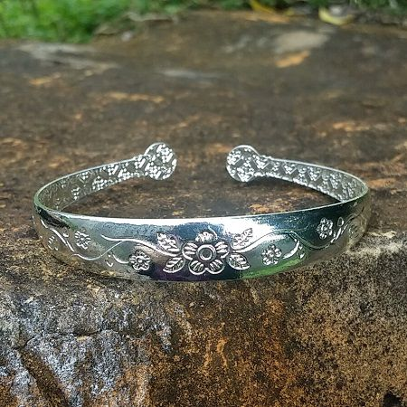 Silver Plated Floral Engraved Thing Line Cuff Bangle