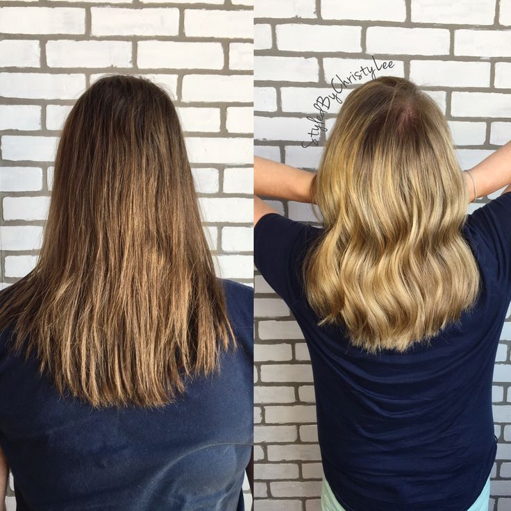 Before and after brown to blonde hair balayaged.
