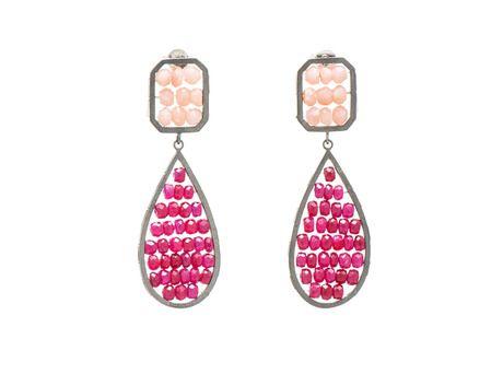 Reef earrings by Anna Davern  (Oxidised sterling silver, Peruvian opal, rubies)