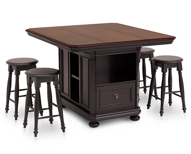 Counter Height Tables-Bridgeport 5 Pc. Counter Height Island Group-Gather around farmhouse elegance