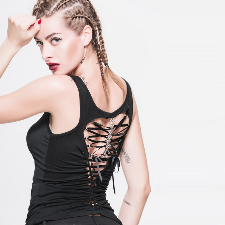Devil Fashion Punk Gothic Women Back Hollow Out Vest Black Sleeveless Women Sexy Tanks Steampunk Corset Vest Tops Cotton T-shirt