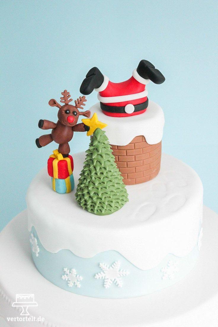 Der Weihnachtsmann steckt fest - christmas cake with santa claus and his reindeer