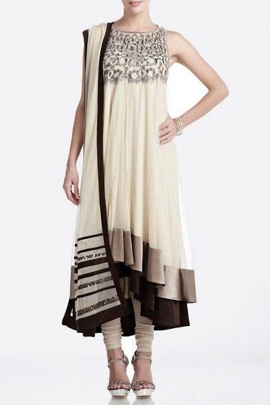 Cream Embellished Net Anarkali