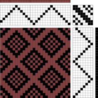 diamonds with plain weave centers | 8-shaft, 8-treadle