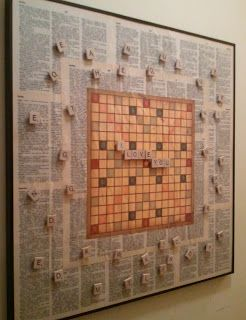 Love this idea.  I was searching for a way to have an on going scrabble game.  DIY Vintage Chic: My Scrabble Board Project