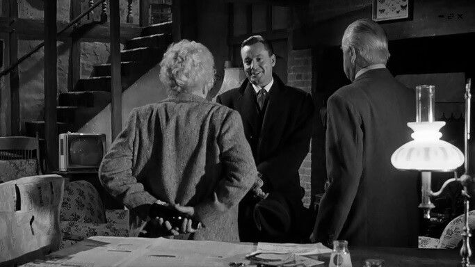 Margaret Rutherford,  Stringer Davis and Charles Tingwell in Murder Most Foul.