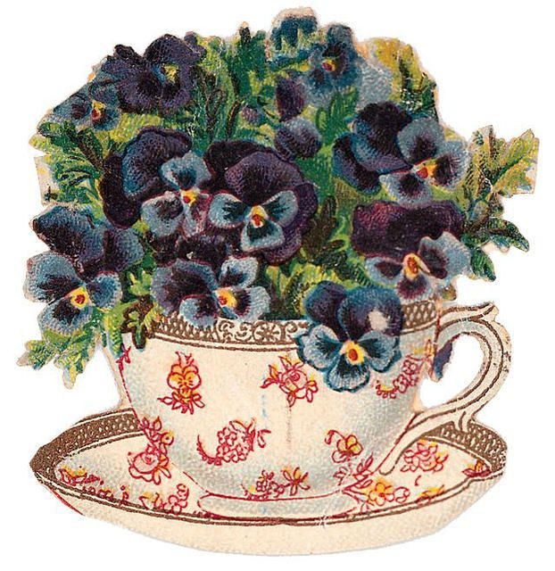 Pansy-filled teacup & saucer:    http://www.lilac-n-lavender.blogspot.com/2012/05/my-cup-of-tea.html