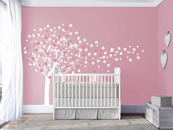Cherry blossom tree wall decals baby nursery by DecalsArtStudio