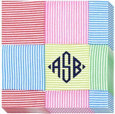 Monogrammed Preppy Stripe Caspari Napkins #monogram #preppy #themonogrammerchant