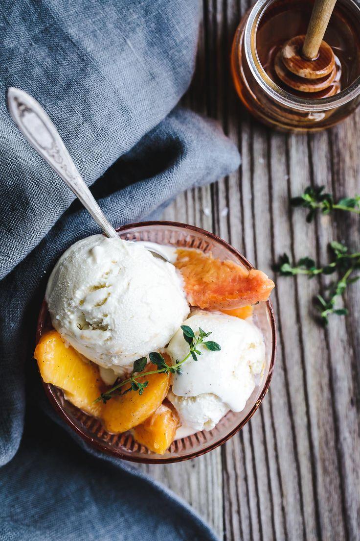 Honey and Lemon Thyme Ricotta Ice Cream with Vanilla Peaches | Sponsored by @rodellevanilla