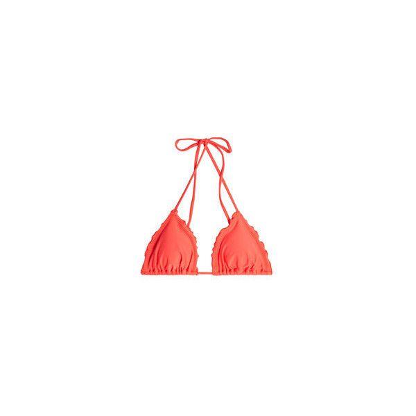 Luli Fama Wavey Triangle Bikini Top ($62) ❤ liked on Polyvore featuring swimwear, bikinis, bikini tops, beach swimwear, tankini tops, coral bikini top, beach bikini and beach wear