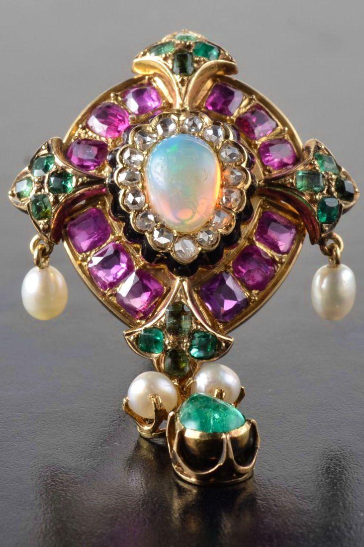 Ruby diamond pearl opal emerald pendant / brooch. 18k ...