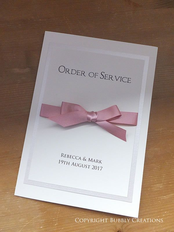Wedding Order of Service in Dusky Pink with a satin ribbon bow by Bubbly Creations #wedding #stationery #orderofservice #duskypink #pink #bow #reception