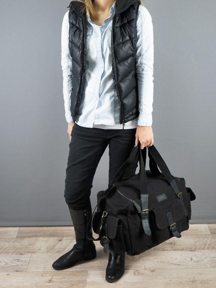 LECONI kleiner Weekender Handgepäck Sporttasche Damen Herren Leder Canvas schwarz LE2016