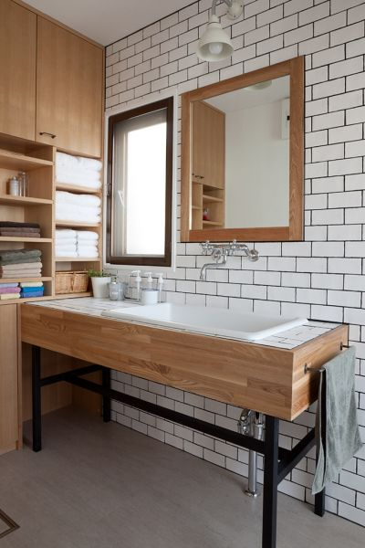 love the wooden & white look, would also look great with black tiles…