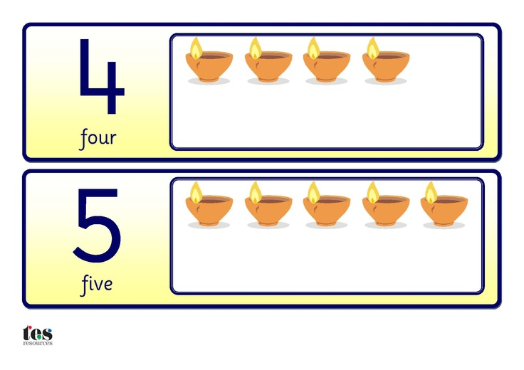 A set of basic number cards, 0-10 with additional diva lamps for counting. All cards are in a yellow colour scheme with Sassoon numbers throughout.
