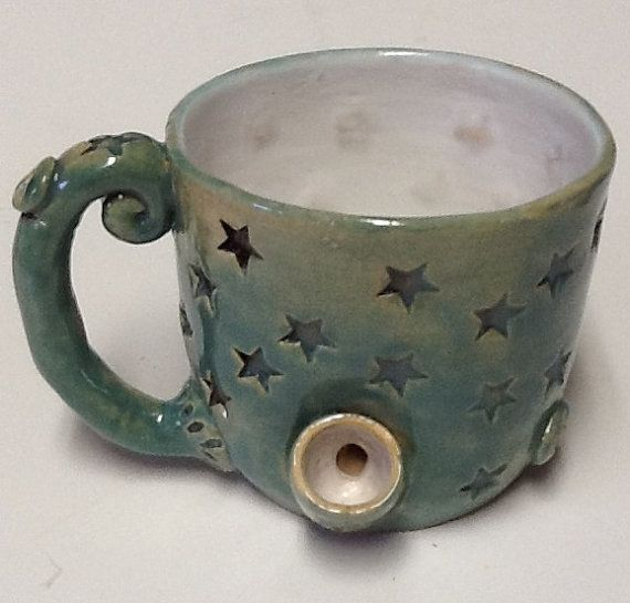 Stars Coffee Mug Pipe/Wake & Bake by claycafe on Etsy, $48.00