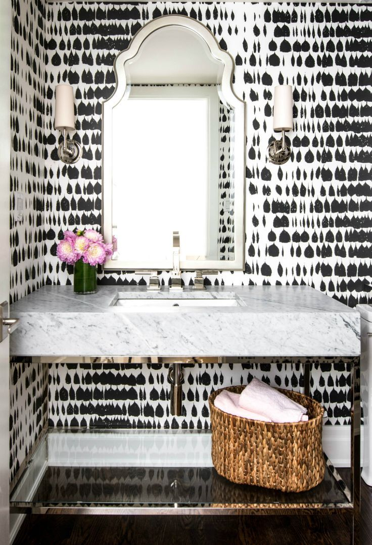 Black And White Patterned Wallpaper In 2019 Powder Room
