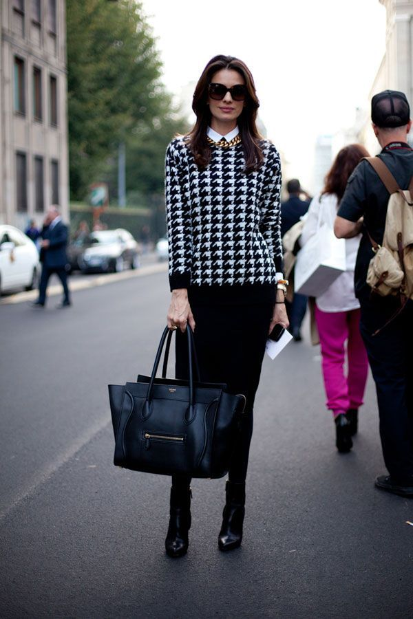 classic black and white houndstooth outfit