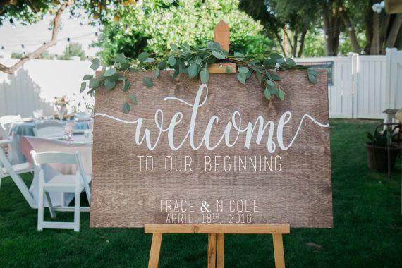 Welkom bij onze begin, bruiloft welkom teken, houten welkom teken, welkom teken voor bruiloft, houten welkom teken, hout weddign tekenen