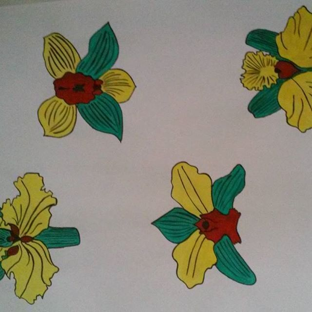 #paint #painting #draw #endofschool #print #flower #rasta #rastafari #orchid #green #yellow #red