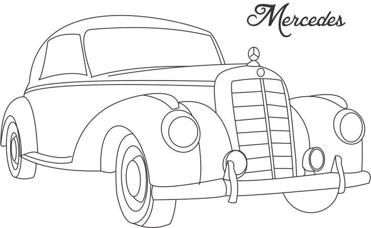 Line Art For Coloring : Line drawing of old cars classic muscle car coloring