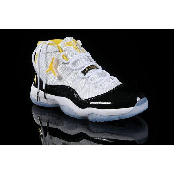 Nike Jordan 11 Basketball Shoes White/Black/Yellow J11-164 via Polyvore