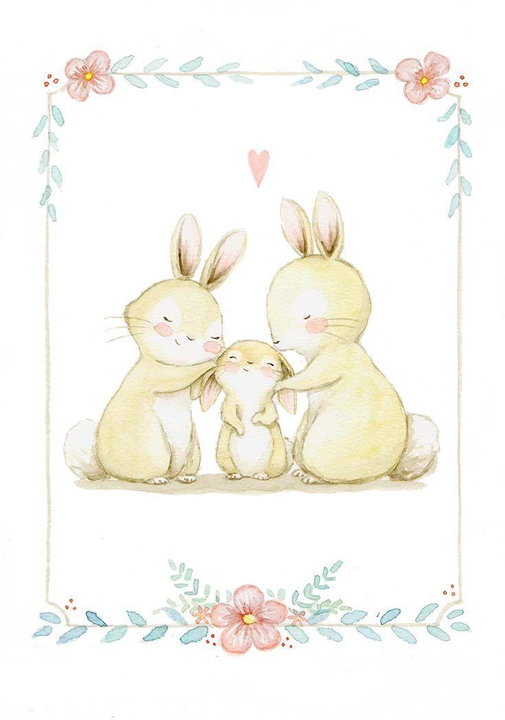Ilustracion infantil conejos amor