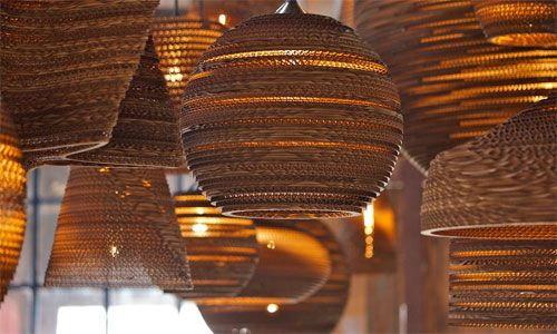 Scrap Lights by Gray Pants are environmentally friendly and ecologically responsible lights made from recycled cardboard.