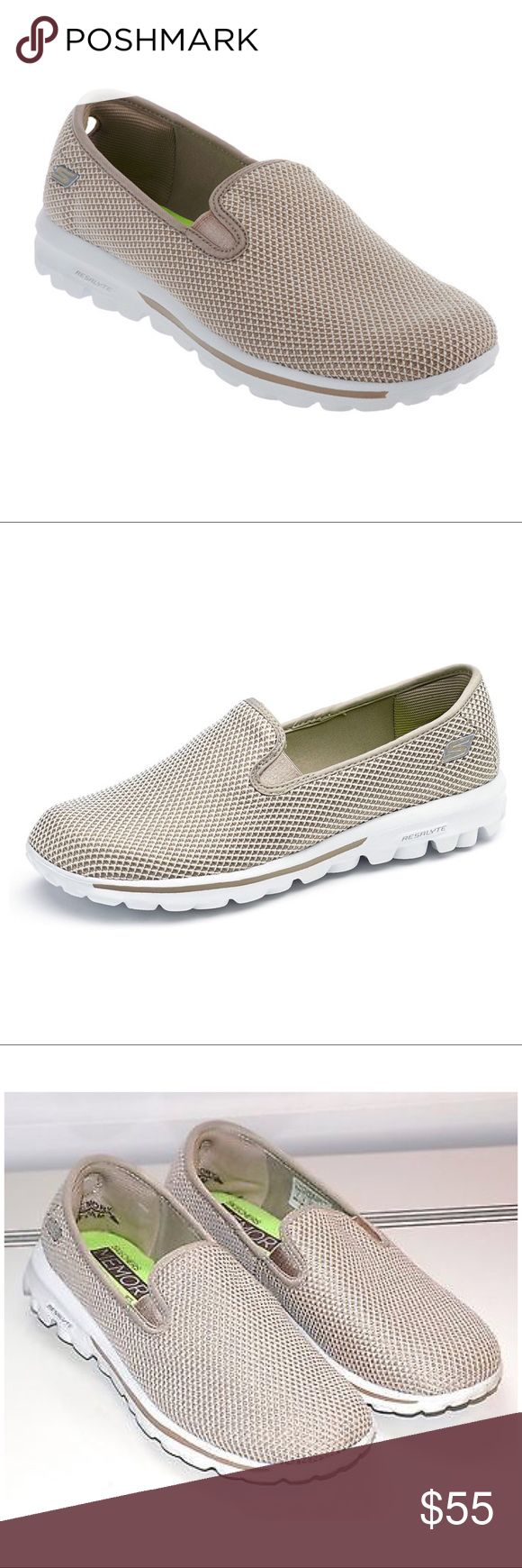 SKECHERS GOWALK TAUPE MESH MEMORY FOAM SNEAKERS You'll dazzle in these slip-on mesh sneakers from Skechers. The memory form fit will help provide you with all-day comfort.  Slip-on style, mesh body, double goring Resalyte midsole, textured outsole; memory form fit design with foam padded insole, heel, and instep Soft impulse pods on the outsole for comfortable cushioning 360 Degree Responsive Flexibility flexes and twists as you walk OrthoLite anti-microbial sock liner can help inhibit odor…