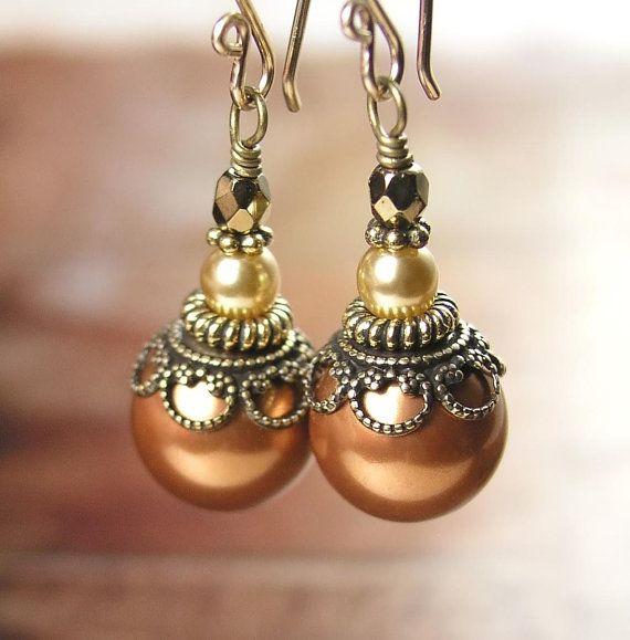 Copper Pearl Earrings Swarovski Crystal Pearl Earrings Antique Gold Earrings Terra Cotta Red Brick  Brown Earrings