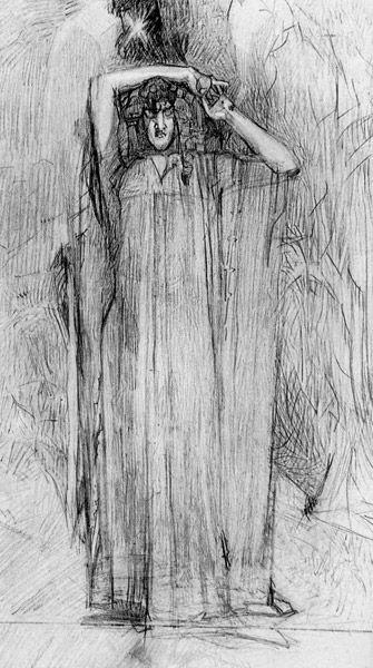 "Mikhail Vrubel. Illustrations to Lermontov's poem ""The Demon"" demon standing"