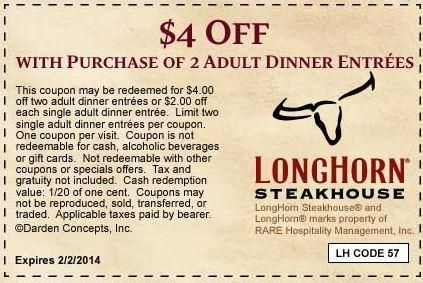 Longhorn Steakhouse coupon for $4 Off Dinner Entrees via Yipit - http://yipit.com/business/longhorn-steakhouse/4-off-66/ love it!