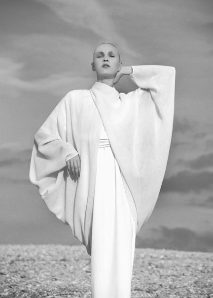 avant garde couture fashion photography art Chic Minimalist Style - understated dress & draped top, all white fashion // Matthew Ames