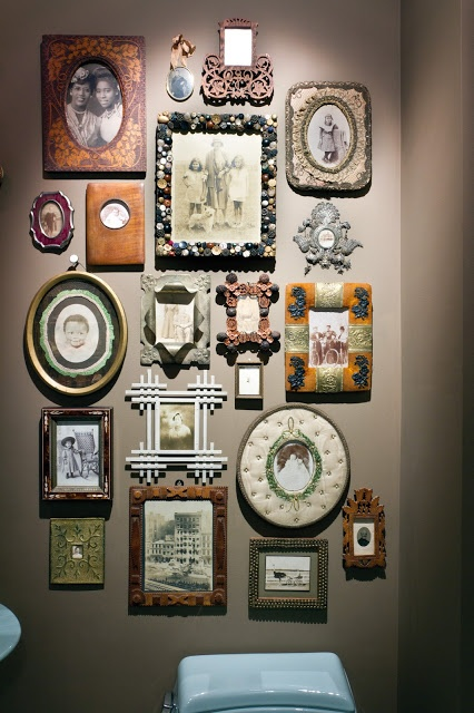 Eclectic gallery wall in a powder room heirloom modern is magic family rooms pinterest - Eclectic picture frame wall ...