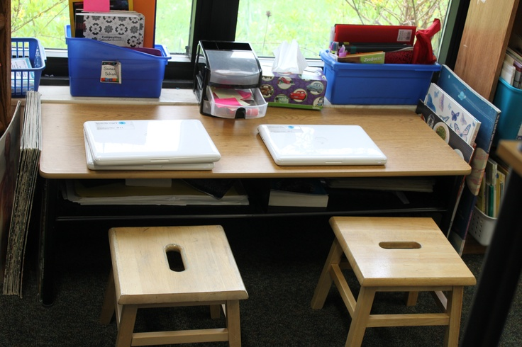 Making the most of her only classroom window, Andrea Smith has a small table (with lowered legs) and two stools for seating to create a cozy, bright work space.