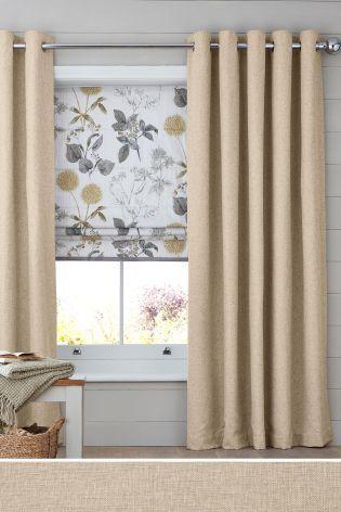 Light Natural Bouclé Blend Eyelet Lined Curtains