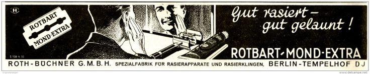 Original-Werbung/ Anzeige 1933 - ROTBART MOND EXTRA RASIERKLINGEN - ca. 230 x 45 mm