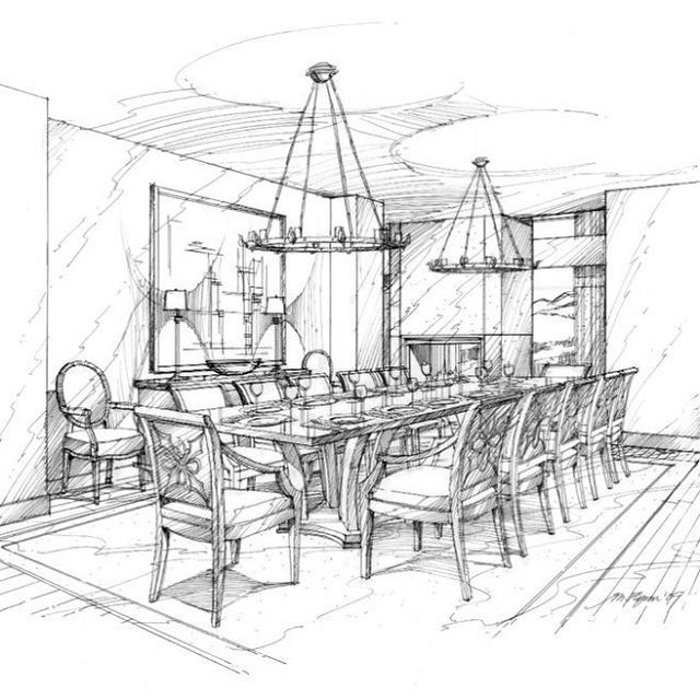 Interior Sketch Rendering of Formal Dining Room by Michael Flynn. www.MichaelFlynnStudios.com. Design credit: HBA. #interiorsketch #handsketch #handrendering #interiordesignsketch #michaelflynn