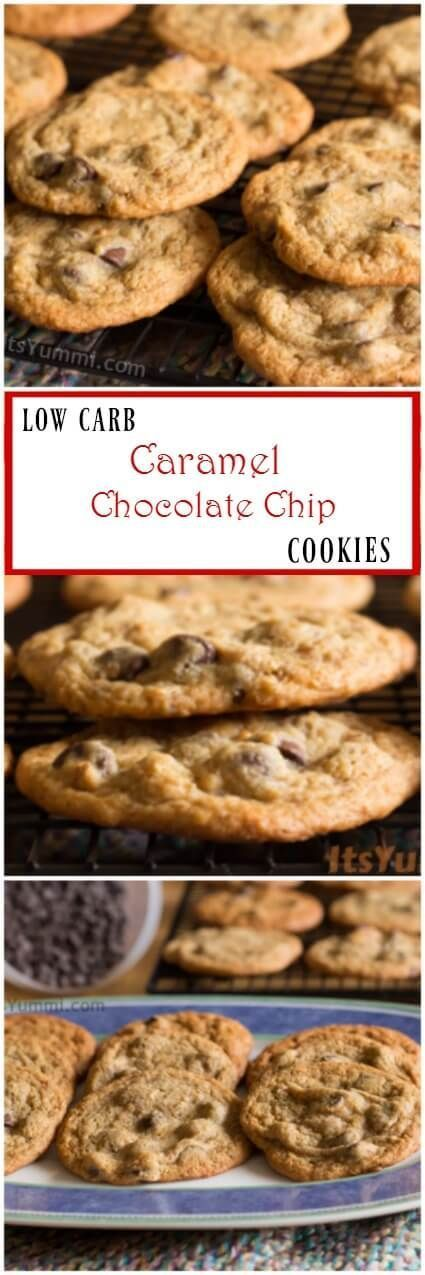 Low carb snacks are delicious! Low Carb Caramel Chocolate Chip Cookies | Recipe on ItsYummi.com via @itsyummi