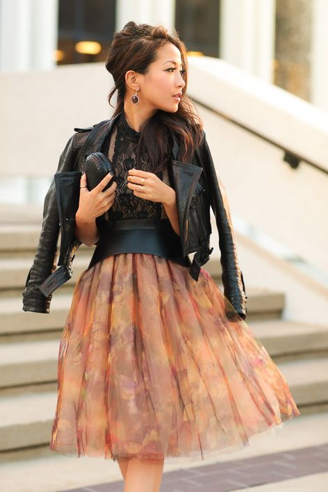 Spring Style: Floral tulle skirt + leather jacket