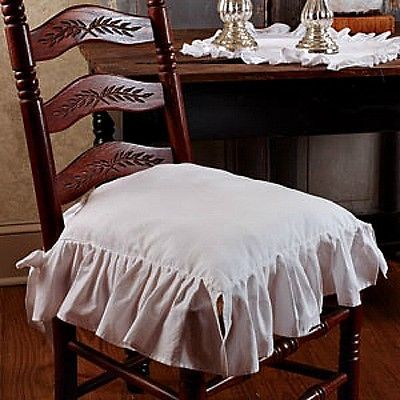 New-French-Country-Shabby-Chic-WHITE-RUFFLED-CHAIR-PAD-Cushion-Seat-Cover