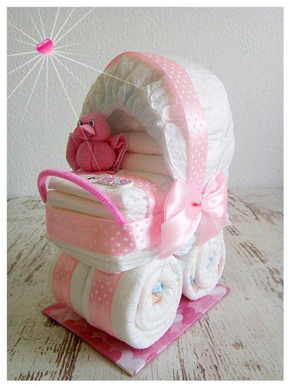 Baby Diaper Stroller Diaper Trolley Pink Duck