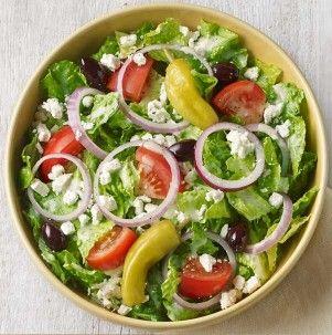 Panera Greek Salad: Romaine lettuce, vine-ripened tomatoes, feta cheese, peperoncini, red onions, kalamata olives, pepper and Greek dressing.