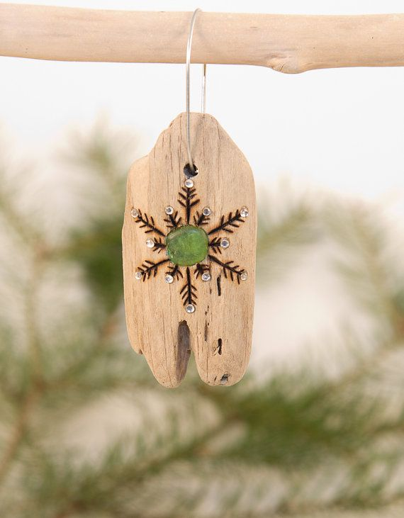Driftwood Christmas Ornament with Wood Burned by OnceUponAShore